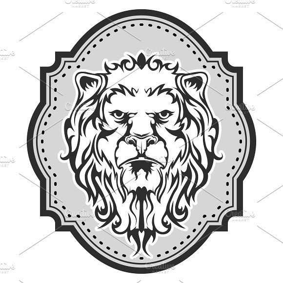 Heraldic lion's head for your design in Illustrations