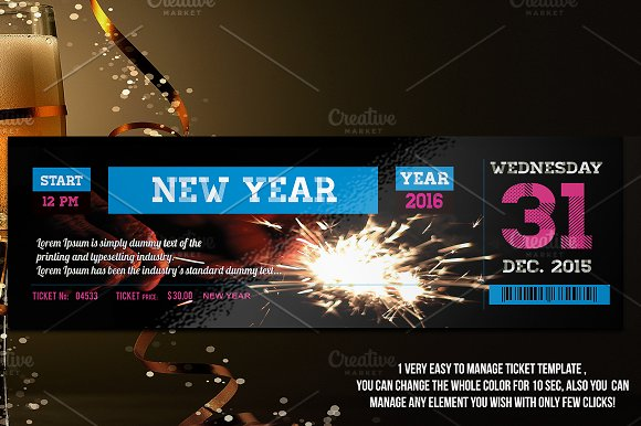 new year ticket invitations