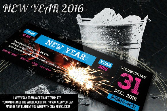 new year ticket invitation templates creative market