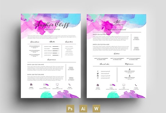 Colored Resume Templates