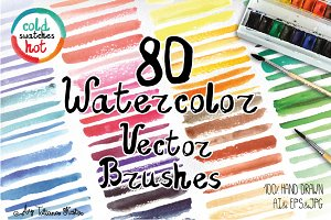 80 Watercolor Vector brushes