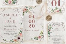 Rose Gold Geometric Wedding Suite by  in Cards