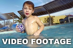 Child diving twice in the pool