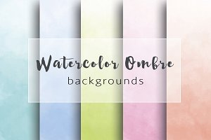 Colored ombre watercolor backgrounds