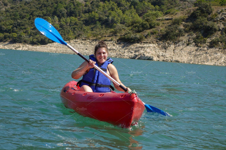 young woman with a kayak sports photos creative market