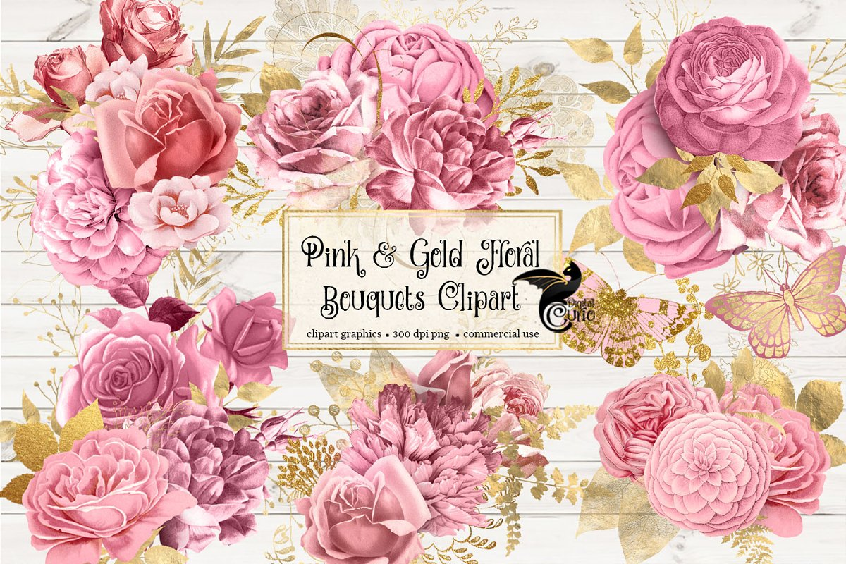 Pink And Gold Floral Clipart Custom Designed Illustrations