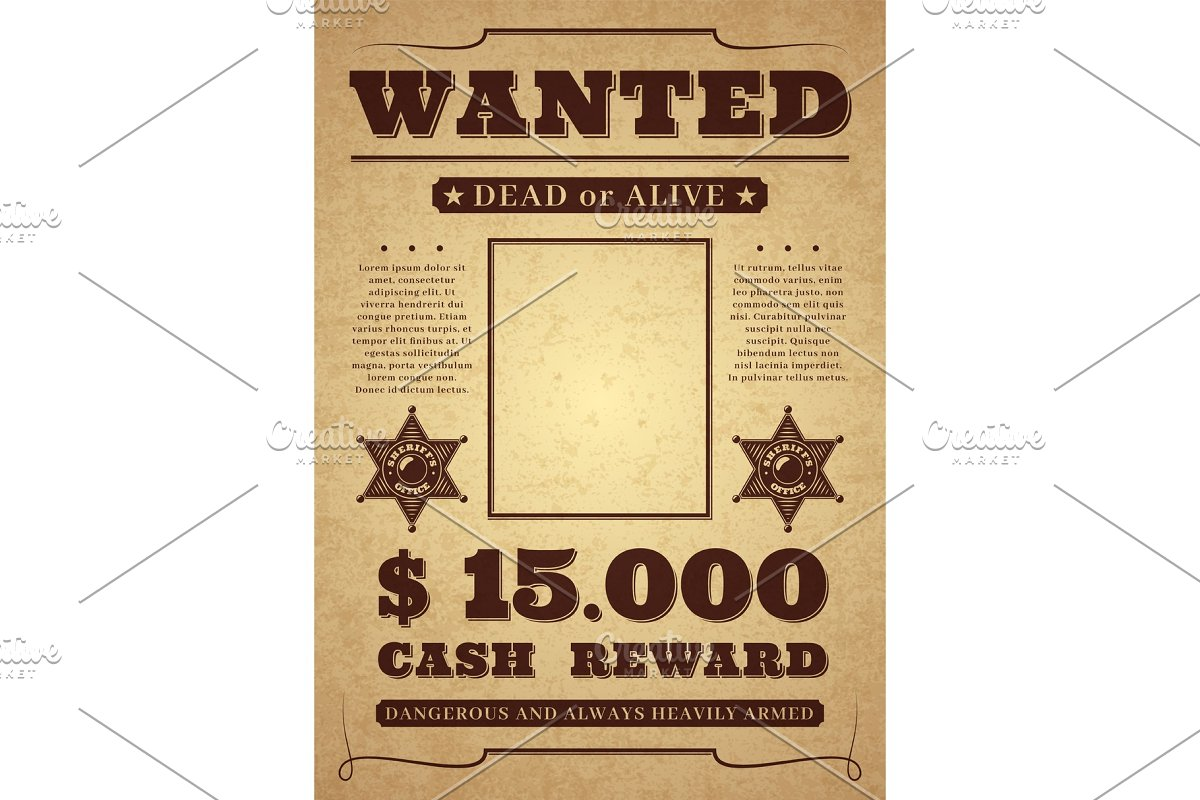 Wanted poster  Old distressed