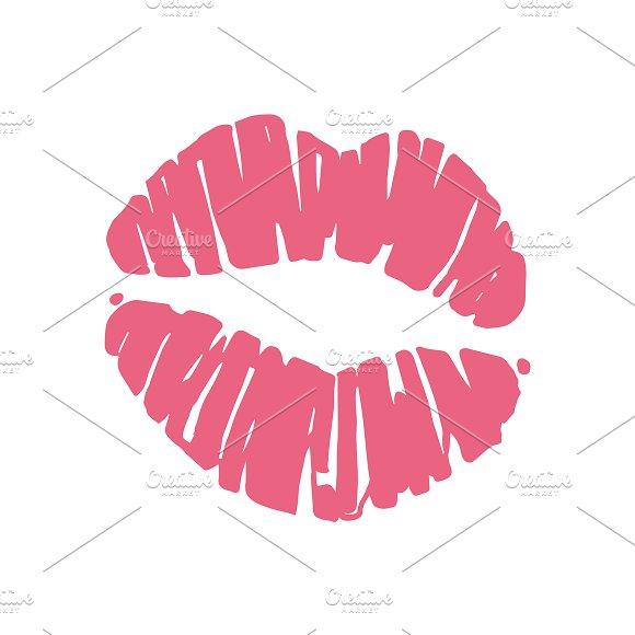 Kiss lips lipstick red trail