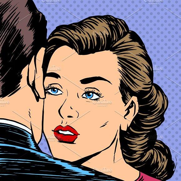 Woman hugging man with the sad face