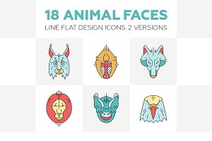 18 Line Flat Design Animal Faces
