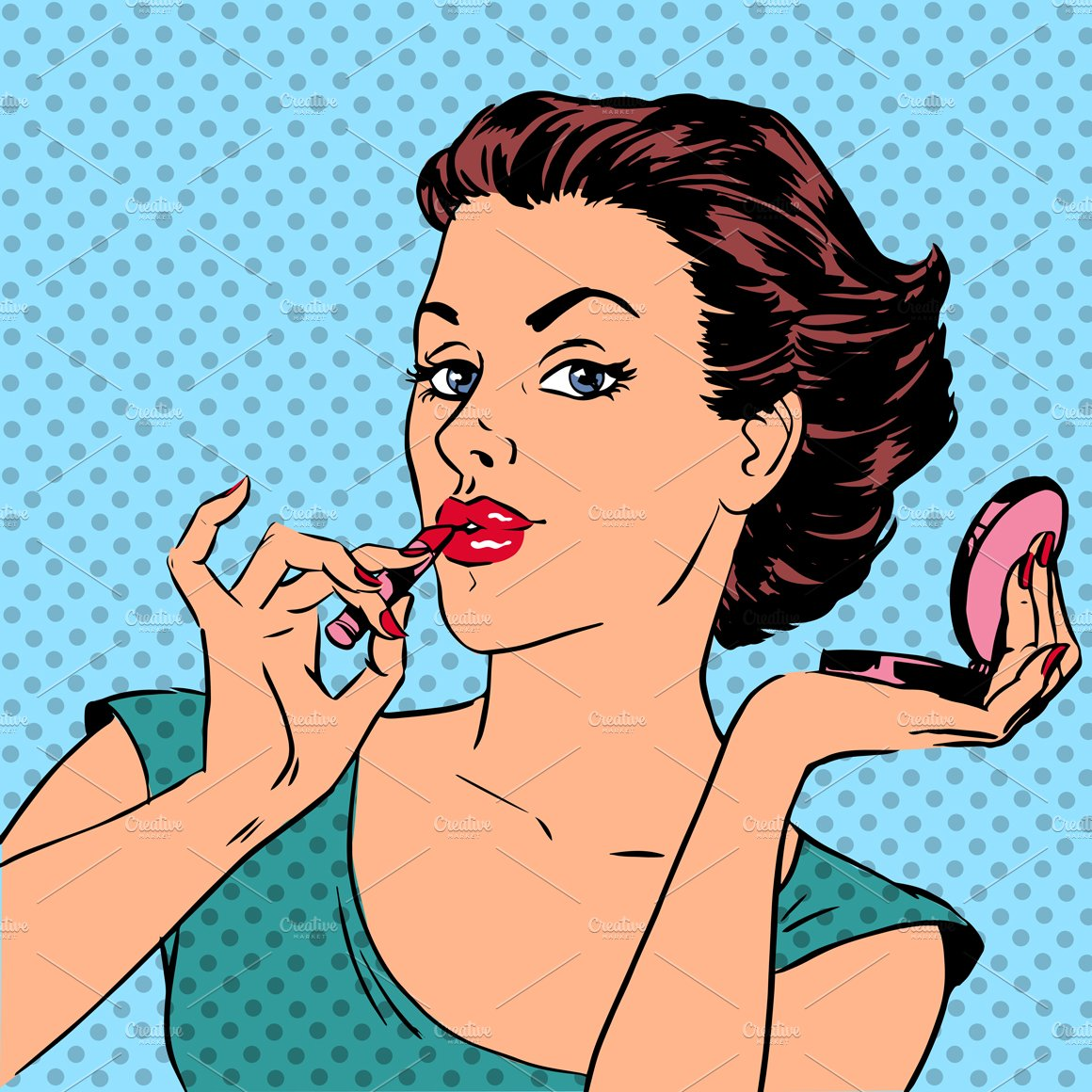 Girl paints lips with lipstick ~ Illustrations ~ Creative ...