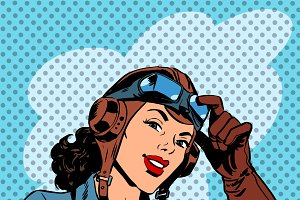 Pin up girl pilot aviation army