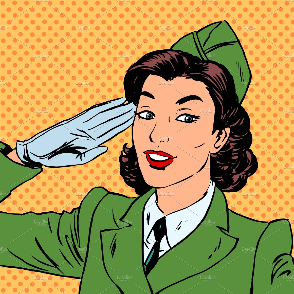 Stationery Concept With Business Cards: Woman Pilot Stewardess Shape Salute