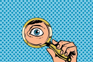 Look through magnifying glass