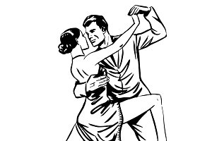 Man and woman dancing couple tango