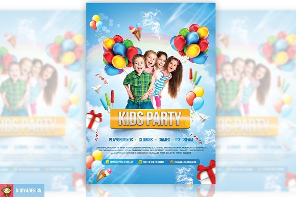 kids party flyer flyer templates creative market
