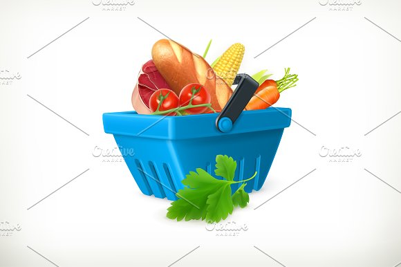 Basket with foods illustration