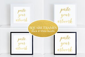 Square Frames Mockup Bundle (55) b&w