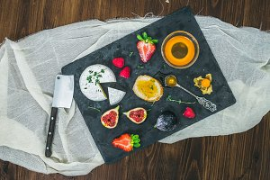 Cheese, strawberries and figs