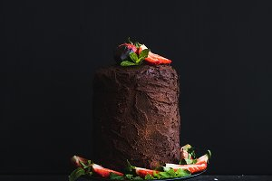 Rustic chocolate high cake