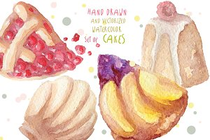 Watercolor sweets hand drawn