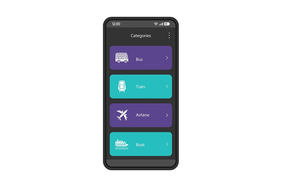 Online booking ticket app interface