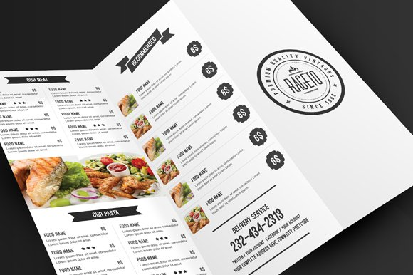 simple clean food menu brochure templates creative market