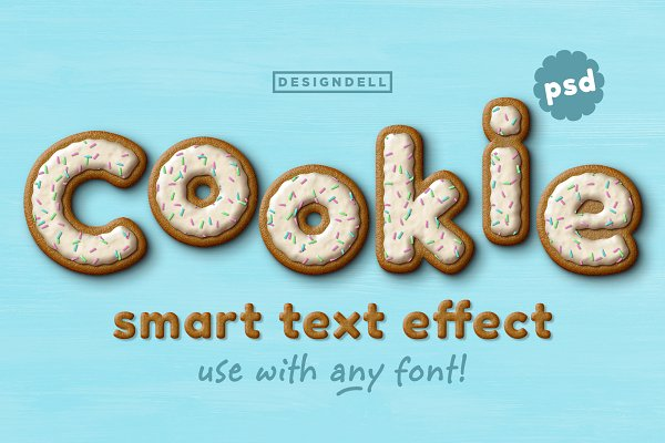 Photoshop Actions: Designdell - Cookie PSD Text Effect