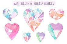 Watercolor Shard Hearts