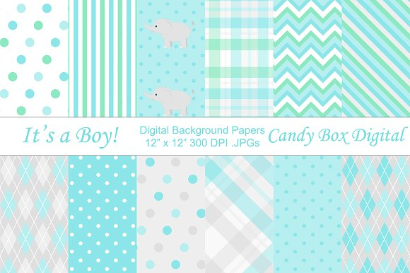 Baby Boy Digital Background Papers