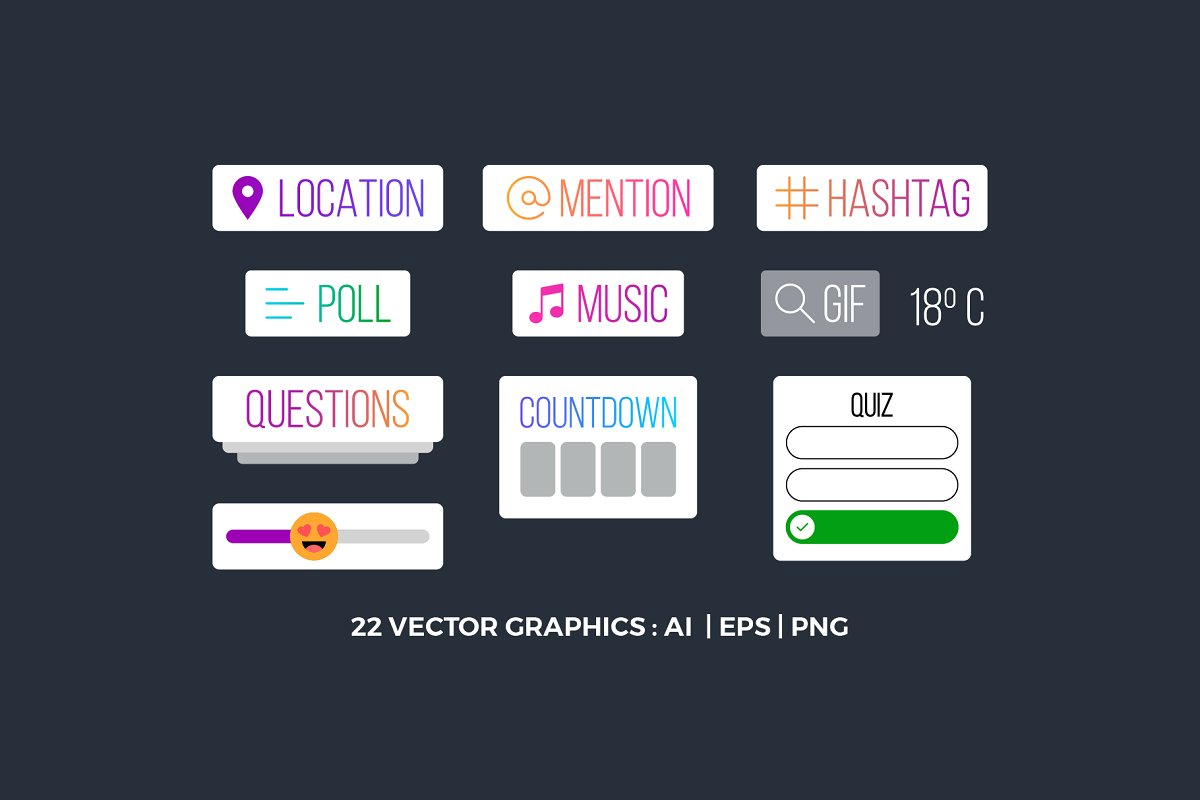 Instagram Stickers Vector