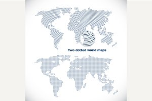 Two dotted world maps
