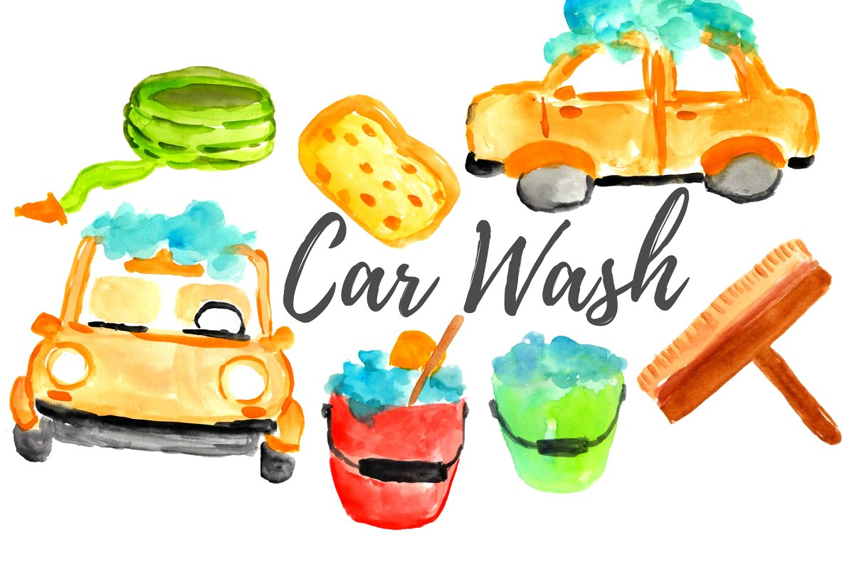 Watercolor Car Wash Clipart Illustrations Creative Market