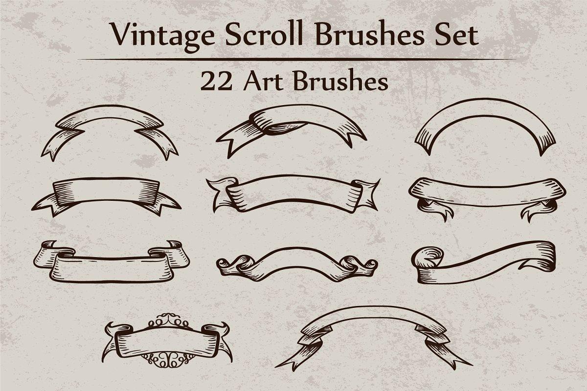 Vintage Scroll Brushes Set.