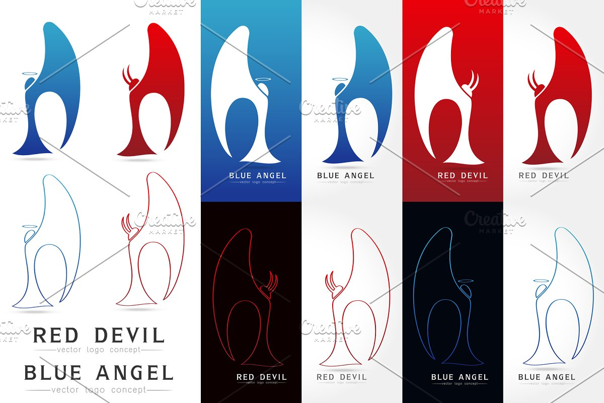 Angel and devil Vector logo