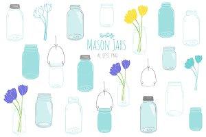 Mason Jars - Vector & PNG