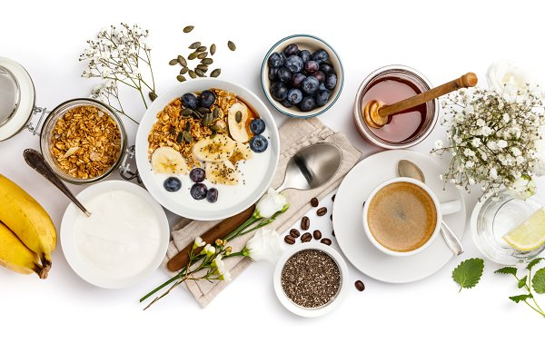 Food Images: Natalia Klenova Photograp - Healthy breakfast set on white backg