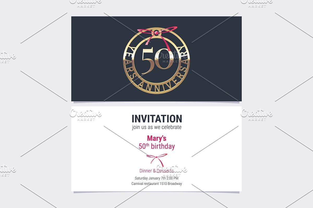 50th Anniversary Invitation Vector