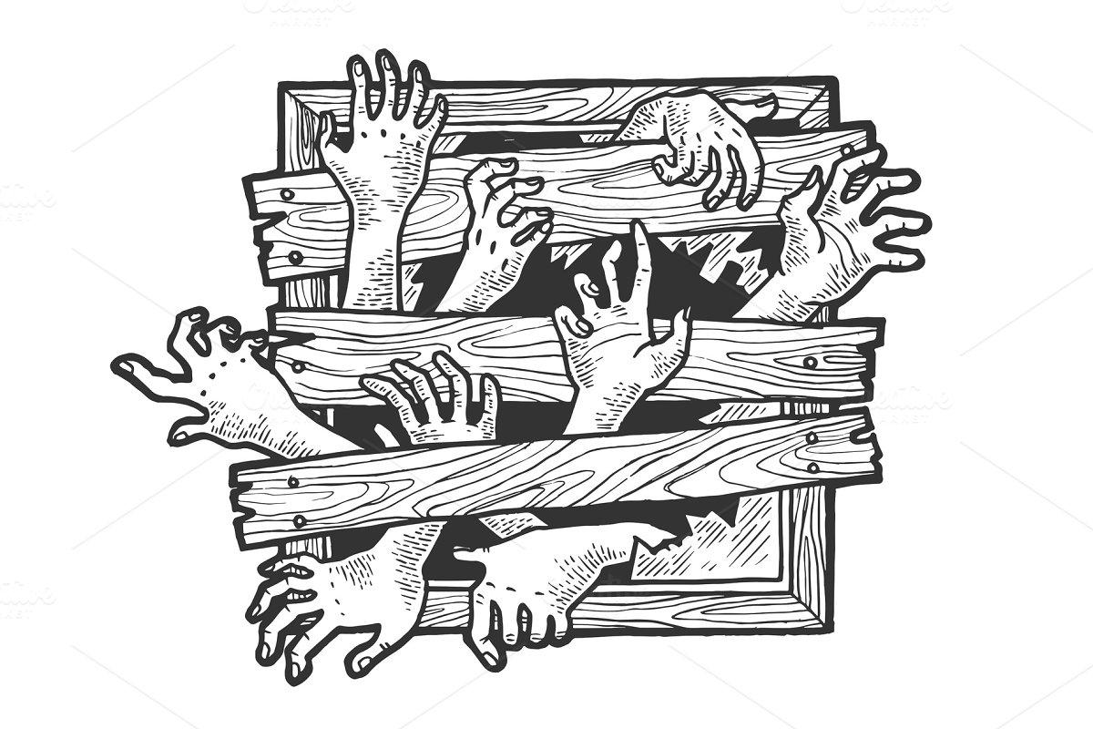 Zombie Hands Window Sketch Vector Illustrations Creative Market