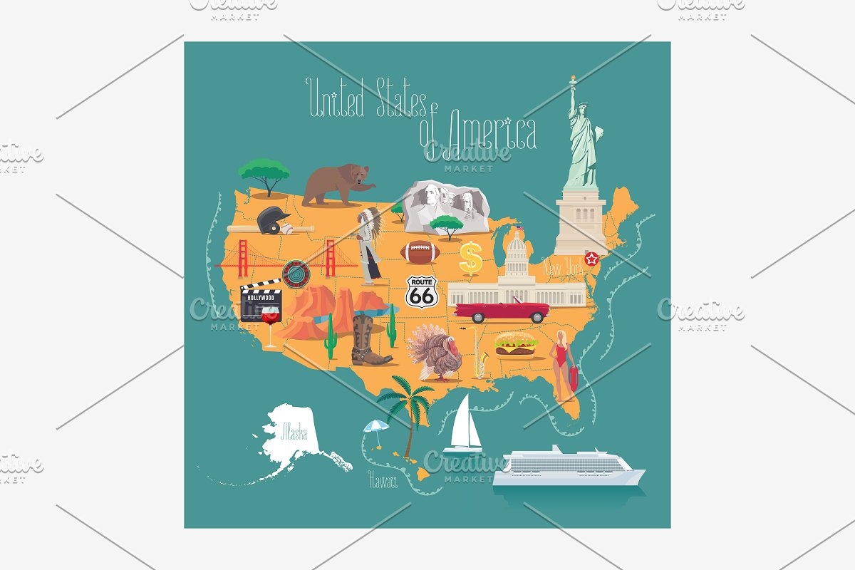 Map Of America Hollywood.Map Of America Vector Illustration
