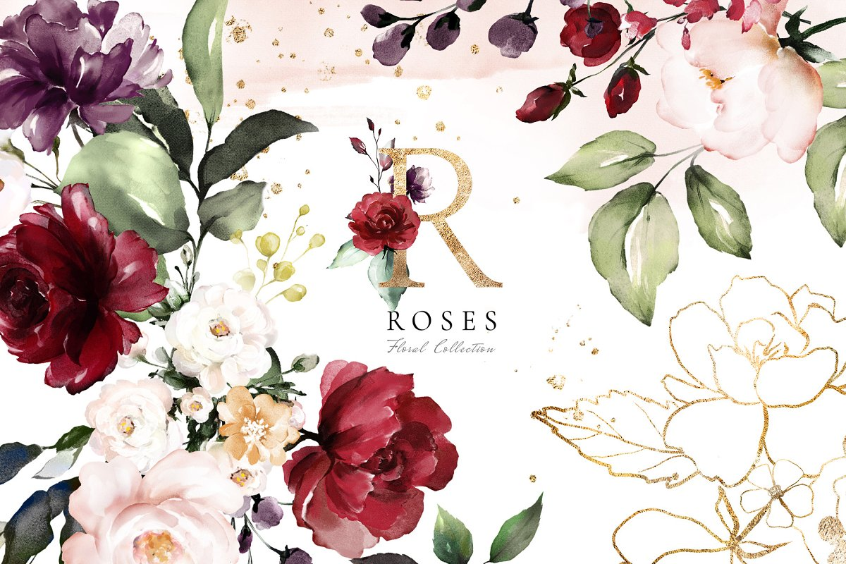 Roses. Watercolor Floral Collection Free Download