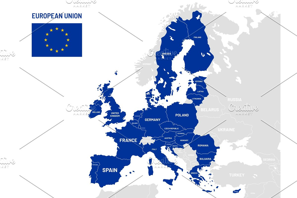 European Union countries map  EU