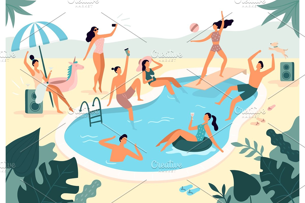 Swimming pool party. Summer outdoors
