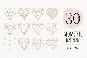 30 Geometric Heart Shapes Symbols