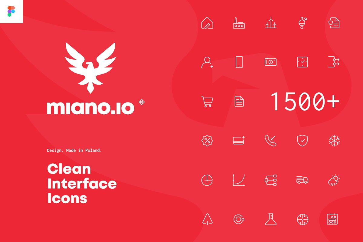 1500+ Clean Interface Icons miano.io