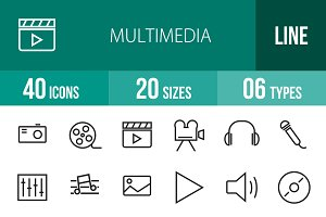 40 Multimedia Line Icons