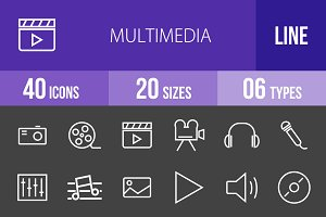 40 Multimedia Line Inverted Icons