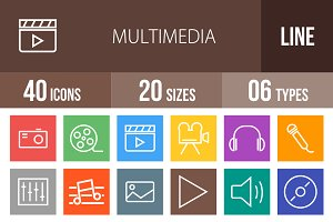 40 Multimedia Line Multicolor Icons