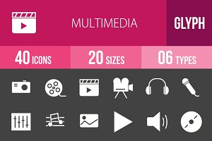 40 Multimedia Glyph Inverted Icons