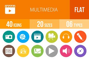 40 Multimedia Flat Round Icons